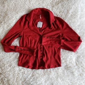 NWT Free People Red Button Up Collared Blouse
